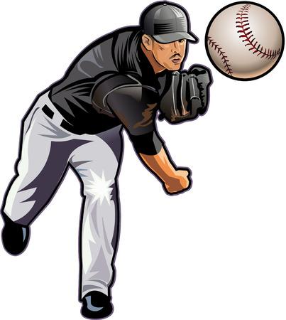 Square shot. Baseball pitcher throws ball.