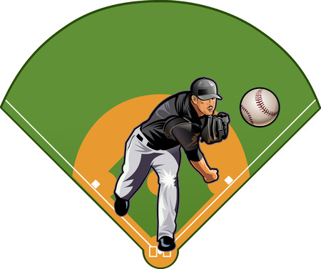 baseball pitcher: Baseball pitcher throws ball anf Baseball field