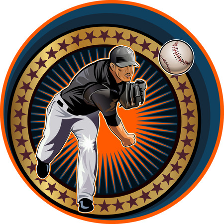baseball pitcher: Baseball pitcher Square shot Illustration