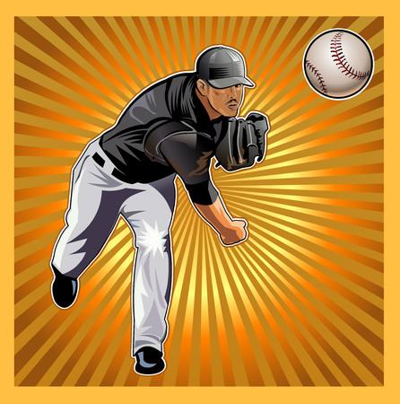 guante de beisbol: Lanzador de béisbol lanza la bola