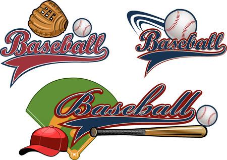 guante de beisbol: Basebal mit�n, bola, palo Vectores