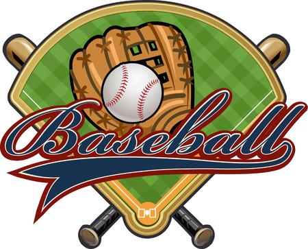guante de beisbol: guante de b�isbol, bola, palo y el campo Vectores