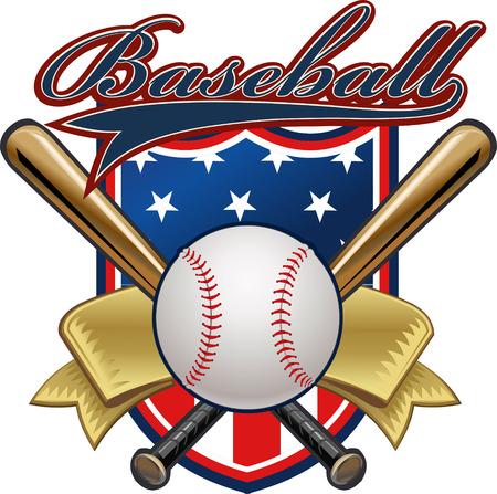 USA flag and Baseball label  イラスト・ベクター素材