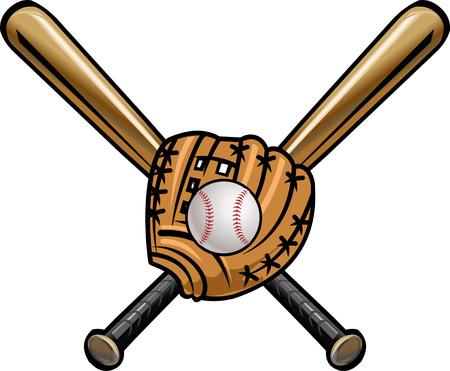 mitt: Baseball cross bats and ball with mitt