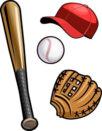 guante de beisbol: mit�n, pelota y bate Vectores