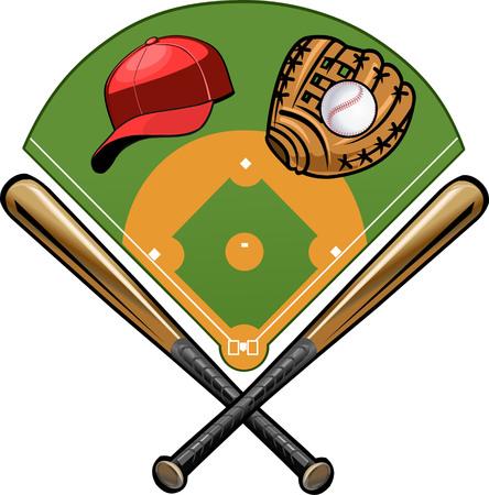 pelota beisbol: mitón, pelota y bate Vectores