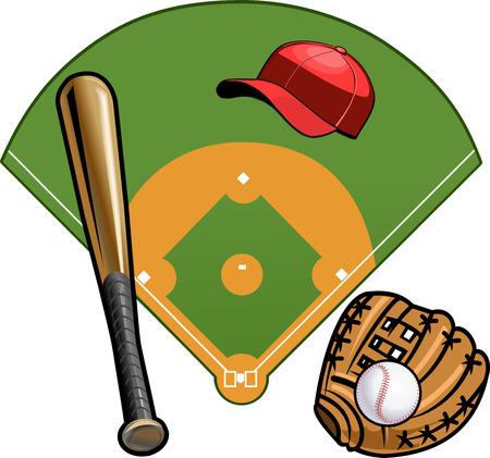 mitt: mitt, ball and batmitt, Field