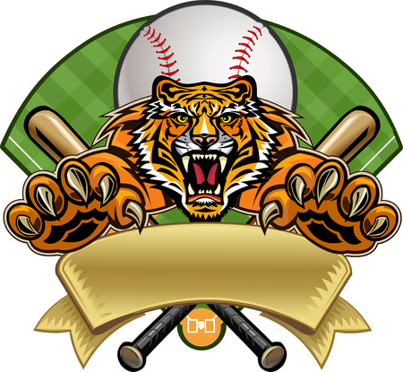 Baseball label tiger Vectores