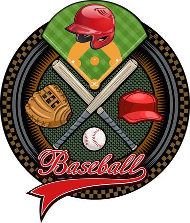 guante de beisbol: guante de b�isbol, pelota y bate, casco Vectores