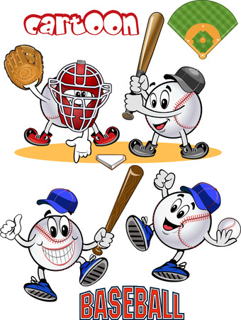 baseball cartoon: Cartoon Baseball balls. Play ball. Baseball Square shot