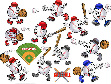 Cartoon Baseball balls. Play ball. Baseball Square shot