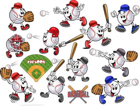 guante de beisbol: pelotas de b�isbol de dibujos animados. Jugar a la pelota. Tiro cuadrado de b�isbol