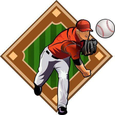 baseball pitcher: Square shot. Baseball Pitcher and Field