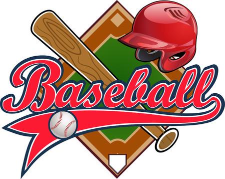 野球ラベル。野球ヘルメット ボール バット フィールド  イラスト・ベクター素材