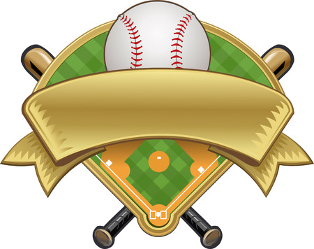 étiquette de base-ball. Ball et le terrain Vecteurs