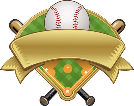 baseball field: Baseball label. Ball and field