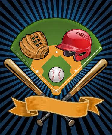 guante de beisbol: Juego de beisbol. casco, palo, bola, mit�n y el campo