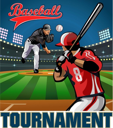 baseball pitcher: Baseball pitcher throws ball. Baseball tournament Illustration