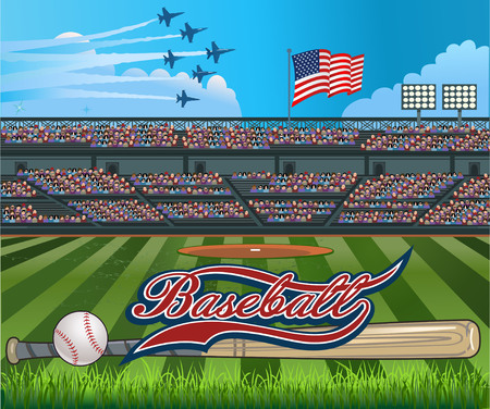 baseball field: Baseball stadium USA Flag Illustration