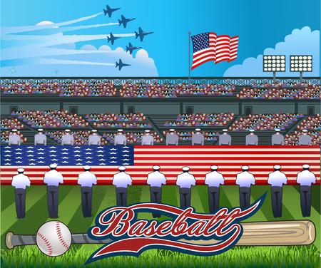 pitchers mound: Baseball stadium USA Flag Illustration