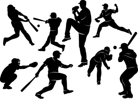 baseball pitcher: baseball players in silhouettes