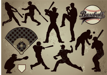hitter: baseball players in vector silhouettes Illustration