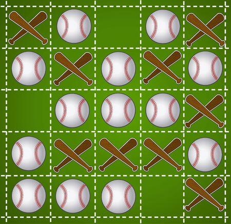 xs: Baseball Tic-tac-toe in green