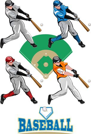 one person only: Baseball Players Illustration