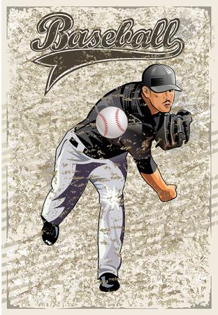 Disparo cuadrados. lanzador de béisbol lanza la bola.