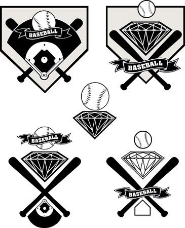 diamante de béisbol etiqueta Ilustración de vector