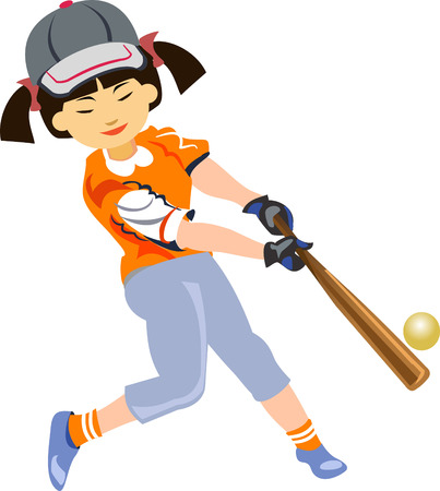 softball girl player Ilustração Vetorial