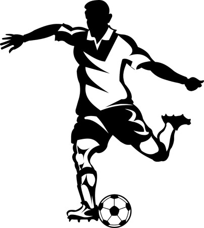 Soccer player silhouette and  ball