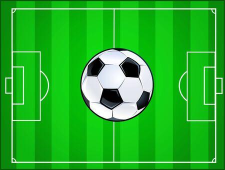 soccer field: Soccer ball  and football field Illustration
