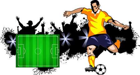 soccer field: Soccer player field and  ball