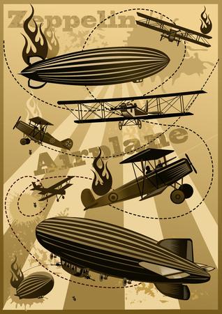 wartime: Vintage world war biplanes and Zeppelin. World War I