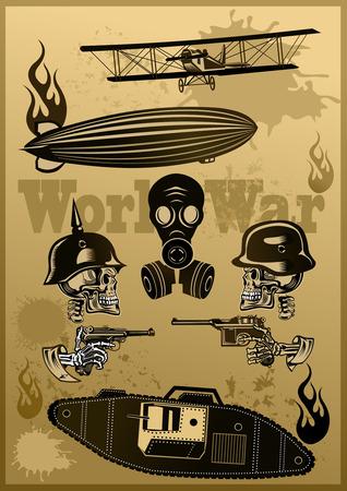 Vintage world war one biplanes and Zeppelin. World War I panzer Skull in helmet with guns cartridges and pistols
