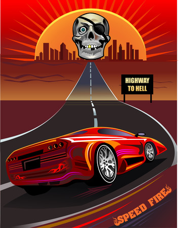 red sky: Highway and bloody red sky. Skull smile Illustration