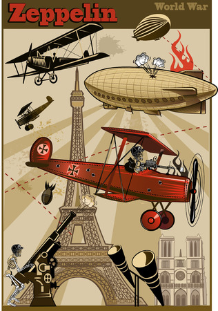 Vintage world war biplanes and Zeppelin. World War I