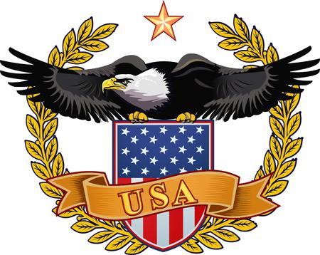 banderas america: Águila americana con banderas de EE.UU. Vectores
