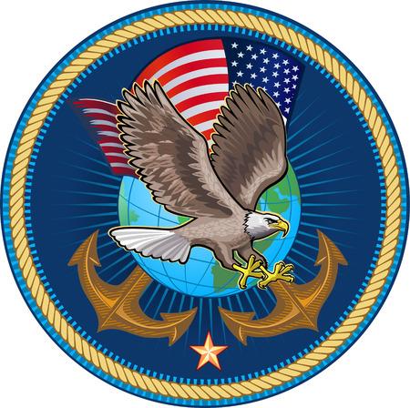 米海軍のイーグル  イラスト・ベクター素材