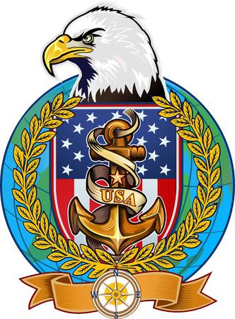 eagle shield: US Navy Eagle Illustration