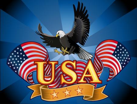 aguila calva: Águila americana con banderas de EE.UU. Vectores