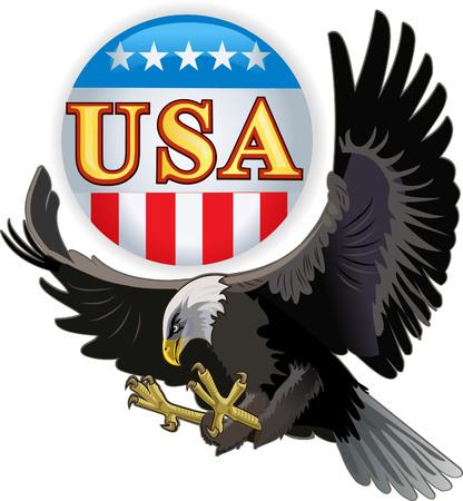 aguila calva: American Eagle y la bandera