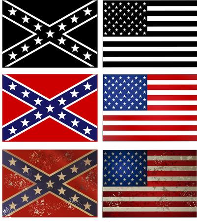 Confederate flag vs. Union flag. Civil war .