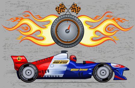 bolide: Formula race car. Vector Drawing Illustration