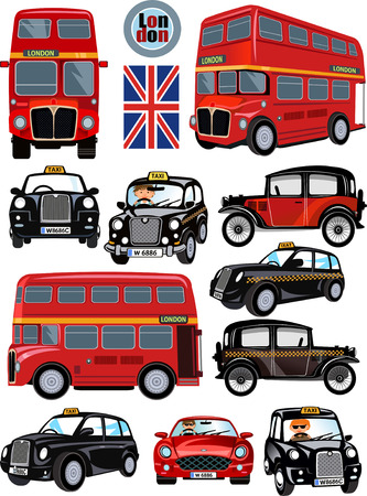London Bus and Car. The English London Transportation