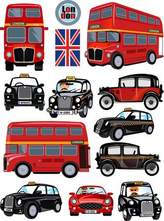 London Bus en auto. De Engels London Transport Stock Illustratie