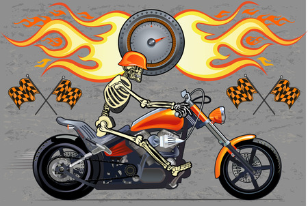 exhaust pipe: Skeleton on Motorbike. Speed Fire. Vector