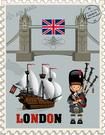 london tower bridge: London Tower Bridge. British Sailor. Vector illustration