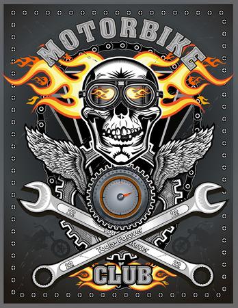 vintage motorfiets club. vector draving Stock Illustratie